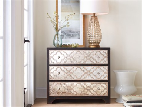 Luxe Designs Black with Antique Mirror 36''W x 19''D Fretwork Accent Chest Cabinet LXD31068415693