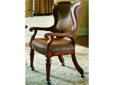 Luxe Designs Distressed Antique Cherry Tall Back Castereted Game Dining Arm Chair LXD4677549500