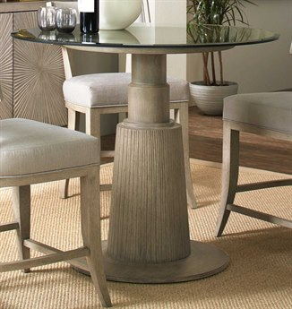 Luxe Designs Champagne Silver / Soft Gray 42'' Wide Round Convertible Dining Table / Counter Table LXD6091744509742