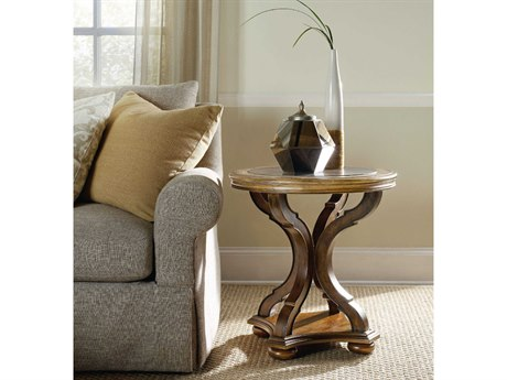 Luxe Designs Bluestone with Pecky Pecan 24'' Wide Round End Table LXD55487931484