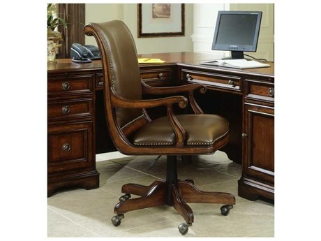 Classic Leather Semi Attached Goose Neck Swivel Tilt Chair