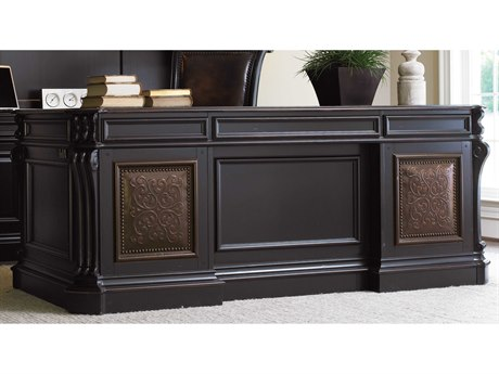 Luxe Designs Black with Reddish Brown 76.5''L x 36''W Rectangular Executive Desk with Leather Panel LXD4711035937