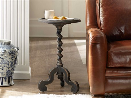 Luxe Designs Anthracite Black 16'' Wide Round Poteet Martini Pedestal Table LXD60614950495BLK