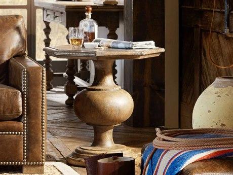 Luxe Designs Timeworn Saddle Brown / Aged Pewter 25'' Wide Hexagon Mason Pedestal Table LXD60617931484MULTI