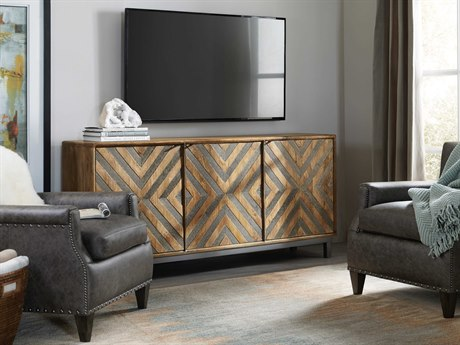 Luxe Designs Brown with Chevron Inlay 69''L x 16''W Rectangular Entertainment / Accent Console LXD57505491431MWD