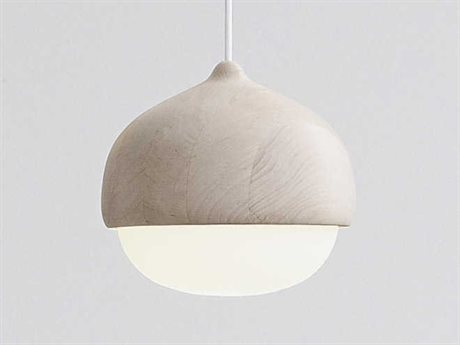 Mater Terho Linden Wood and Mouth-Blown White Opal Glass 9'' Wide Mini-Pendant Light MTR02302