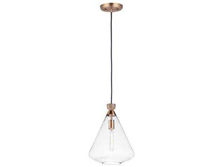 Maxim Lighting Abbott Weathered Oak / Antique Brass 12'' Wide Glass Pendant MX10101CLWOAB