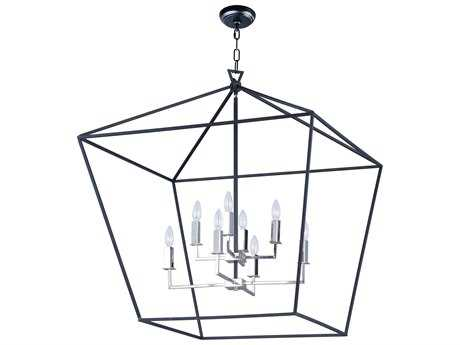 Maxim Lighting Abode Textured Black & Polished Nickel Eight-Light 33'' Wide Chandelier MX25154TXBPN
