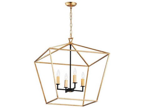 Maxim Lighting Abode Gold Leaf / Textured Black 24'' Wide Medium Chandelier MX25155GLTXB