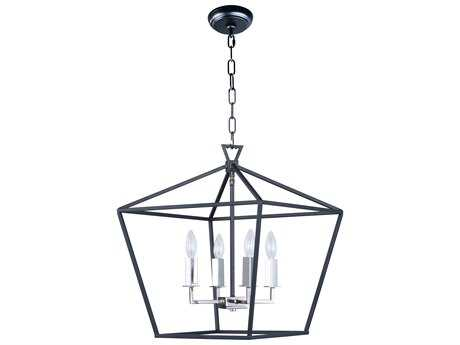 Maxim Lighting Abode Textured Black & Polished Nickel Four-Light 18'' Wide Mini Chandelier MX25156TXBPN