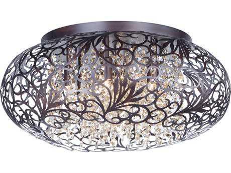 Maxim Lighting Arabesque Oil Rubbed Bronze with Cognac Glass Seven-Light 18'' Wide Flush Mount Light MX24150CGOI