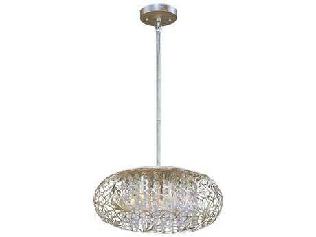 Maxim Lighting Arabesque Golden Silver & Beveled Crystal  Seven-Light 18'' Wide Pendant Light