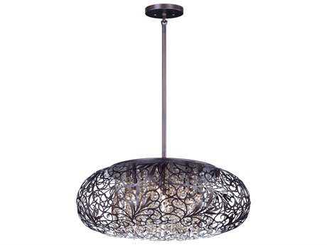 Maxim Lighting Arabesque Oil Rubbed Bronze with Cognac Glass Seven-Light 18'' Wide Pendant Light MX24154CGOI