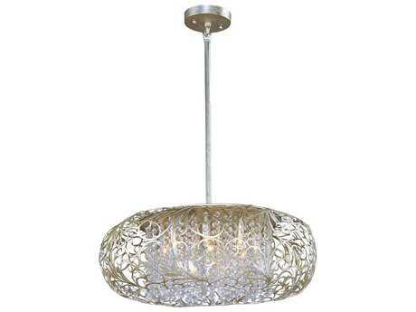 Maxim Lighting Arabesque Golden Silver & Beveled Crystal  Nine-Light 24'' Wide Pendant Light