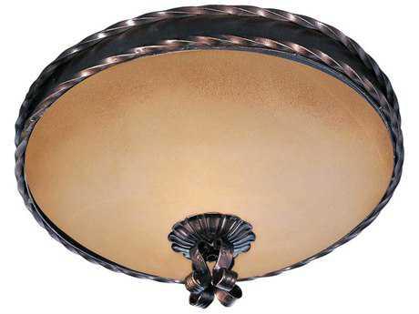 Maxim Lighting Aspen Oil Rubbed Bronze & Vintage Amber Glass Two-Light 13'' Wide Flush Mount Light MX20601VAOI