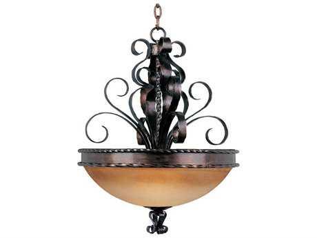 Maxim Lighting Aspen Oil Rubbed Bronze & Vintage Amber Glass Three-Light 24'' Wide Pendant Light MX20606VAOI