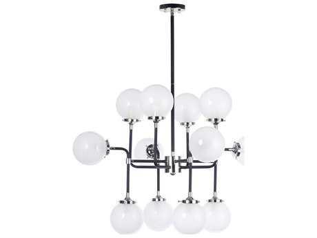 Maxim Lighting Atom Black and Polished Nickel 12-Light 36'' Wide Incandescent Pendant Light MX24727WTBKPN