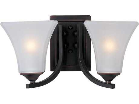 Maxim Lighting Aurora Oil Rubbed Bronze & Frosted Glass Two-Light Incandescent Vanity Light MX20099FTOI
