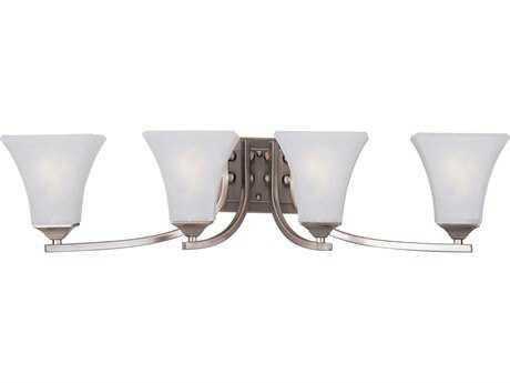 Maxim Lighting Aurora Satin Nickel & Frosted Glass Four-Light Incandescent Vanity Light MX20101FTSN