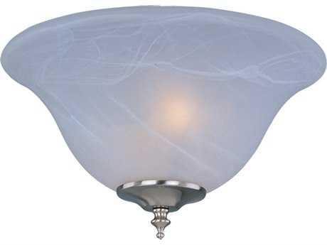 Maxim Lighting Basic-Max Satin Nickel & Marble Glass Two-Light Ceiling Fan Light Kit with Wattage Limiter MXFKT205SN