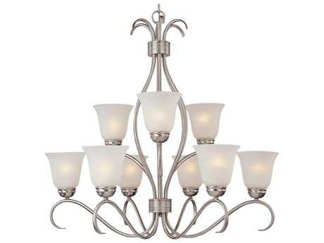 Maxim Lighting Basix Satin Nickel Nine-Light 32 Wide Chandelier with Ice Glass