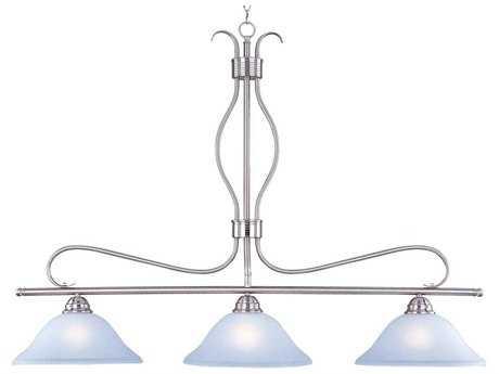 Maxim Lighting Basix Satin Nickel & Ice Glass Three-Light 48'' Long Island Light MX10127ICSN