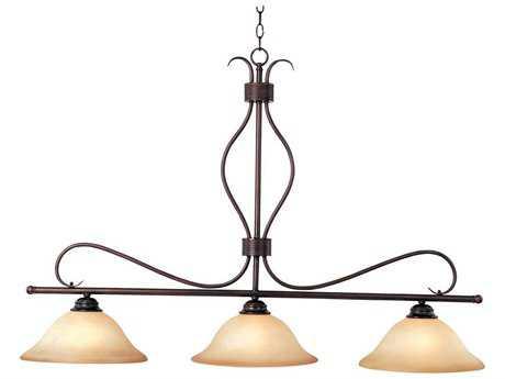 Maxim Lighting Basix Oil Rubbed Bronze & Wilshire Glass Three-Light 48'' Long Island Light MX10127WSOI