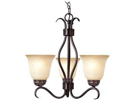 Maxim Lighting Basix Oil Rubbed Bronze Three-Light 19 Wide Mini-Chandelier with Wilshire Glass MX10123WSOI