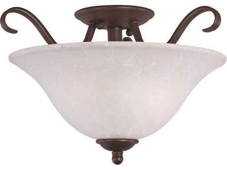 Maxim Lighting Basix Oil Rubbed Bronze & Ice Glass Two-Light 14'' Wide Semi-Flush Mount Light MX10120ICOI