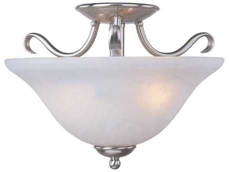 Maxim Lighting Basix Satin Nickel & Ice Glass Two-Light 14'' Wide Semi-Flush Mount Light MX10120ICSN