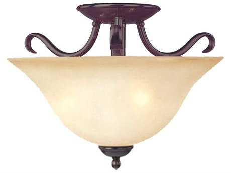 Maxim Lighting Basix Oil Rubbed Bronze & Wilshire Glass Two-Light 14'' Wide Semi-Flush Mount Light MX10120WSOI