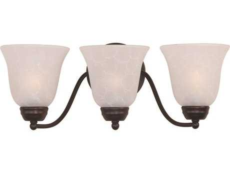 Maxim Lighting Basix Oil Rubbed Bronze & Ice Glass Three-Light Incandescent Vanity Light MX2122ICOI