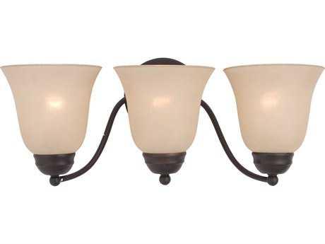 Maxim Lighting Basix Oil Rubbed Bronze & Wilshire Glass Three-Light Incandescent Vanity Light MX2122WSOI