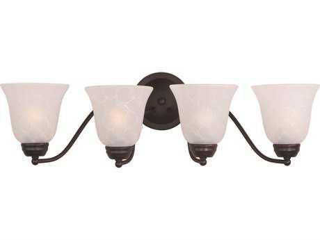 Maxim Lighting Basix Oil Rubbed Bronze & Ice Glass Four-Light Incandescent Vanity Light MX2123ICOI