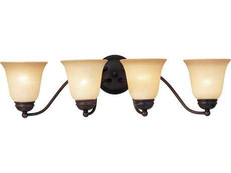 Maxim Lighting Basix Oil Rubbed Bronze & Wilshire Glass Four-Light Incandescent Vanity Light MX2123WSOI