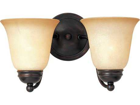 Maxim Lighting Basix Oil Rubbed Bronze & Wilshire Glass Two-Light Incandescent Wall Sconce MX2121WSOI