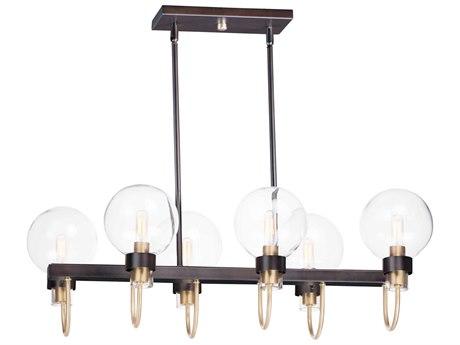 Maxim Lighting Bauhaus Bronze / Satin Brass Six-Light 32'' Wide  Island Light MX30519CLBZSBR