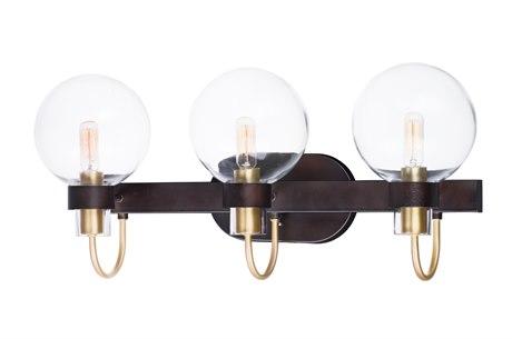 Maxim Lighting Bauhaus Bronze / Satin Brass Three-Light 23'' Wide  Vanity Light