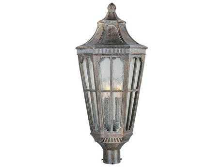 Maxim Lighting Beacon Hill Sienna & Seedy Glass Three-Light 11'' Wide Outdoor Post Light MX40150CDSE