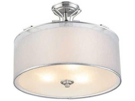 Maxim Lighting Bon Ton Satin Nickel 18'' Wide Glass Semi-Flush Mount MX26040SWWOSN