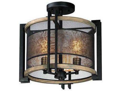 Maxim Lighting Boundry Black / Barn Wood Antique Brass 16'' Wide Semi-Flush Mount MX27560BKBWAB