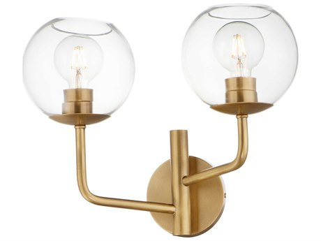 Maxim Lighting Branch Natural Aged Brass 2-light Glass Vanity Light