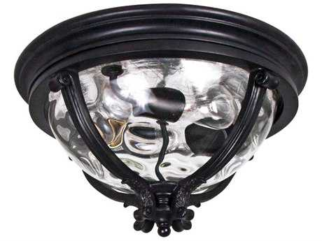 Maxim Lighting Camden Black & Water Glass Three-Light 16'' Wide Outdoor Ceiling Light MX41420WGBK