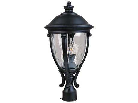 Maxim Lighting Camden Black & Water Glass Three-Light 11'' Wide Outdoor Post Light MX41421WGBK
