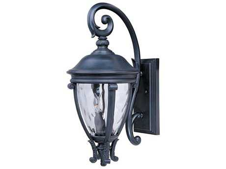 Maxim Lighting Camden Black & Water Glass Three-Light 11'' Wide Outdoor Wall Light MX41425WGBK