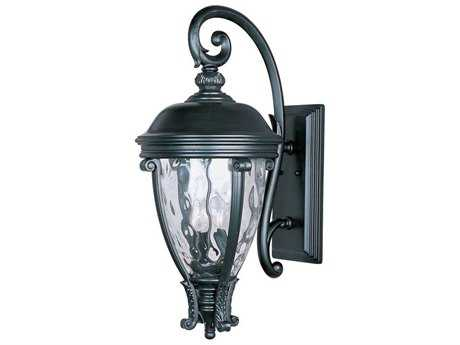 Maxim Lighting Camden Black & Water Glass Three-Light 13'' Wide Outdoor Wall Light MX41426WGBK