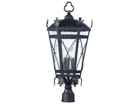 Maxim Lighting Canterbury DC Artesian Bronze with Seedy Glass Three-Light Outdoor Post Light MX20451CDAT