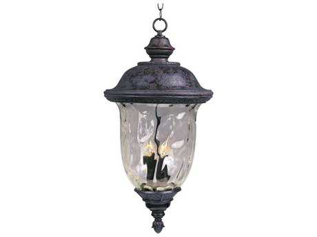 Maxim Lighting Carriage House DC Oriental Bronze & Water Glass Three-Light 12.5'' Wide Incandescent Outdoor Hanging Light