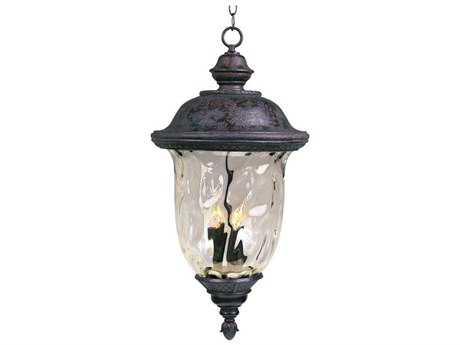 Maxim Lighting Carriage House DC Oriental Bronze & Water Glass Three-Light 14'' Wide Incandescent Outdoor Hanging Light