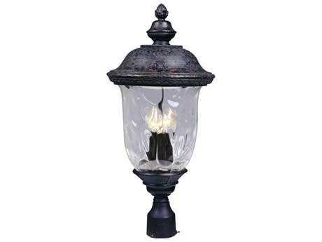 Maxim Lighting Carriage House DC Oriental Bronze & Water Glass Three-Light 12.5'' Wide Incandescent Outdoor Post Light